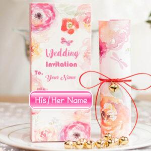 Online Name Write Wedding Inviting Card Sent Photo