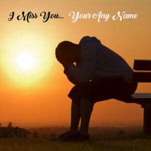 Sad Boy Miss U Name Write Profile Picture Online Edit