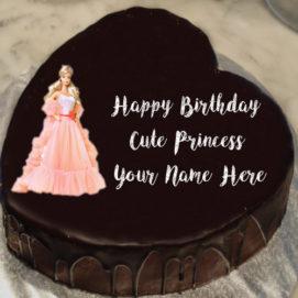 Unique Princess Barbie Doll Birthday Cake Name Wishes Image