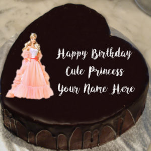 Unique Princess Barbie Doll Birthday Cake Name Wishes Image