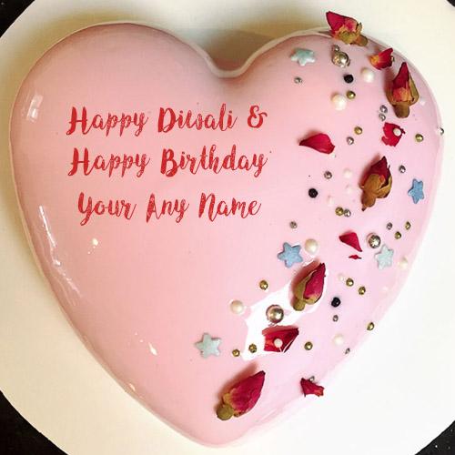 Write Name Happy Diwali & Birthday Wishes Cake Image