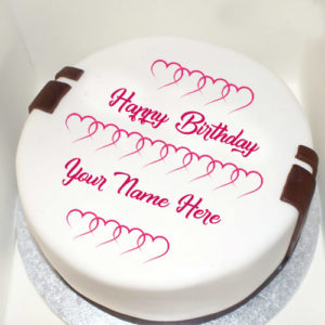 Write Name Love Heart Decoration Birthday Cake Image