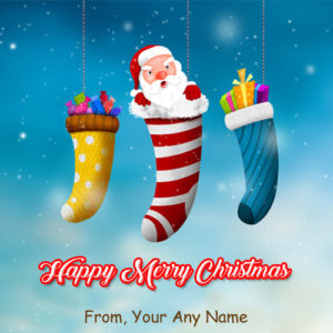 Amazing Santa Claus Funny Christmas Wishes Name Card Image