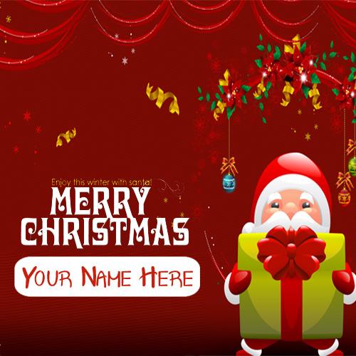 Beautiful Gift Santa Claus Christmas Wishes Name Photo