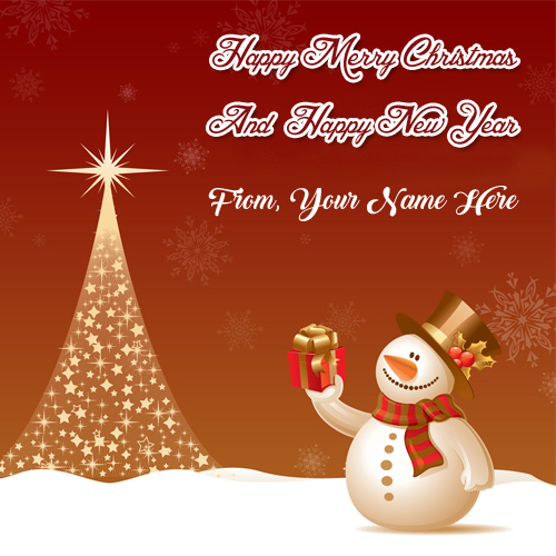 Merry Christmas Card Name Wishes Happy New Year Photo