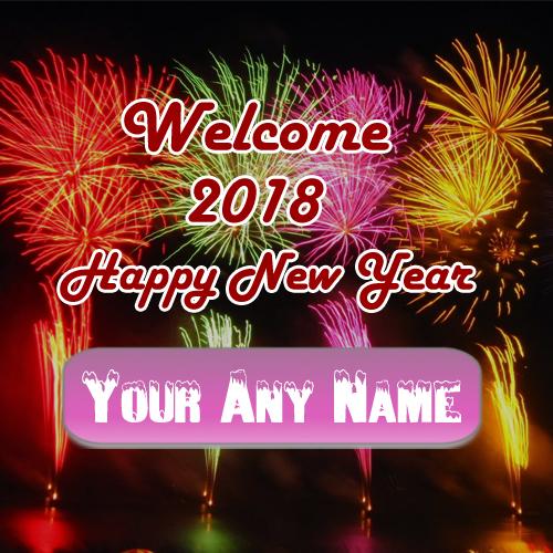 Name Write Colorful Firework Happy New Year Wish Card Sent