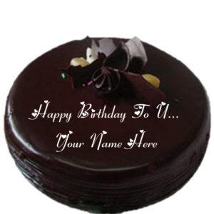 Happy Birthday To U Chocolate Cake Name Write Image Edit
