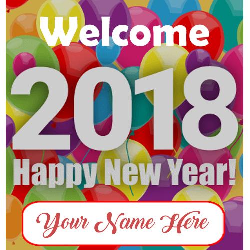 Write Name Beautiful Happy New Year 2018 Greeting Card Editable