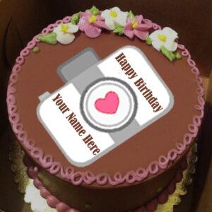 Write Name Happy Birthday Camera Cake Wishes Picture Sent