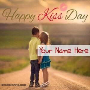 Boyfriend Name Sent Happy Kiss Day Wishes Beautiful Image