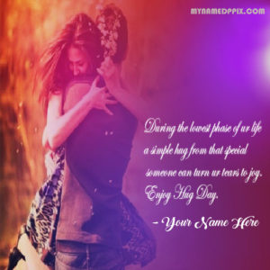 Hug Day Greeting Quote Card Name Wishes Romantic Couple Image