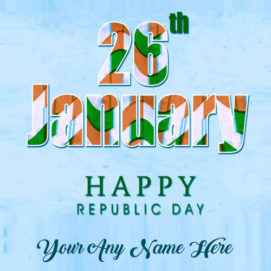 Print Name Happy Republic Day 26 January Indian Celebration Photo