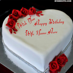 Wife Happy Birthday Name Cake Image Edit Photo Online Create