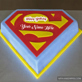 Birthday Superman Cake Kids Name Wishes Pictures Sent