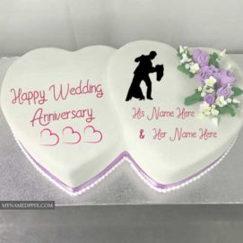 Double Heart Anniversary Cake Wishes Couple Name Photo