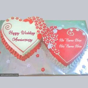 Romantic Wedding Anniversary Cake Couple Name Wishes Images