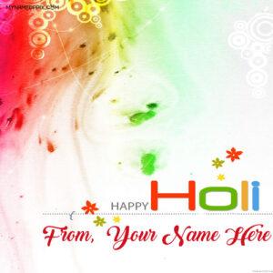 Sent Name Write Happy Holi Greeting Beautiful Cards Photos