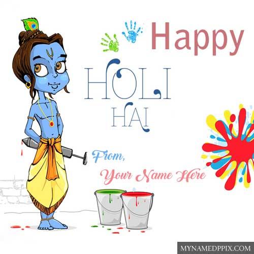 Write Name Happy Holi God Krishna Wishes HD Wallpapers Edit