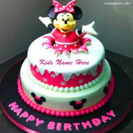 Write Name Kids Birthday Wishes Mickey Cake Image Wishes