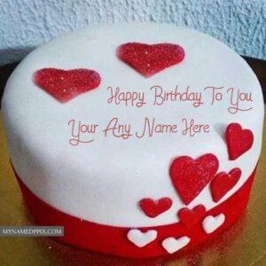 Birthday Wishes Heart Decoration Cake Name Write Image