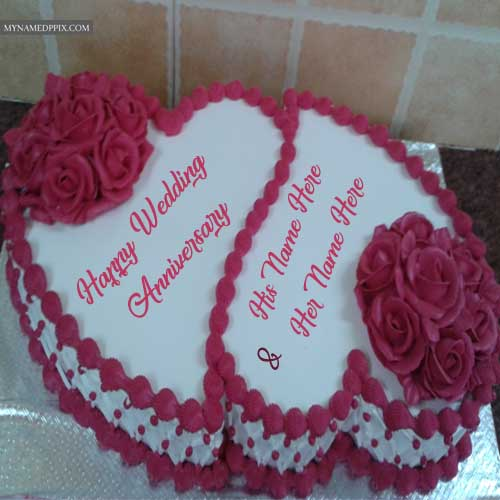 Flowers Decoration Anniversary Wishes Couple Name Cakes