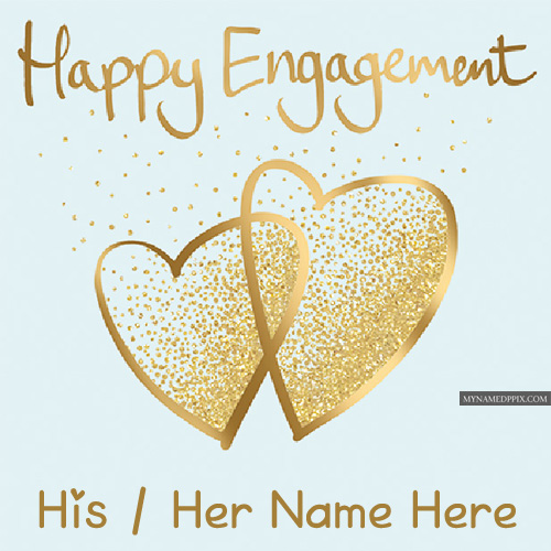 Happy Engagement Name Write Wishes Greeting Card Photos