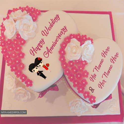 Latest Double Heart Awesome Wedding Anniversary Couple Name Cakes