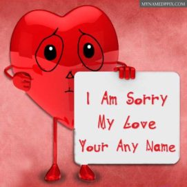Love Name Sorry Card Beautiful Heart Send Photo Online Create