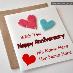 Wish You Happy Anniversary Greeting Card Couple Names Write