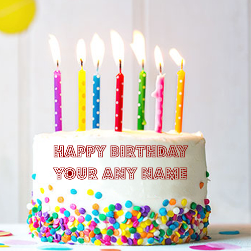 Happy Birthday Cake Candles Decorative Design Name Wishes Images