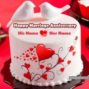 Happy Marriage Anniversary Beautiful Couple Name Bird Cake Images