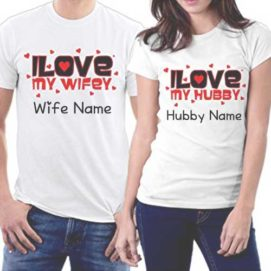 Hubby Wifey Love T-Shirts Names Write Couple Photo Profile