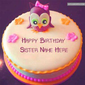 Sister Name Write Beautiful Bird Birthday Cakes Wishes Images Editor
