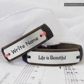 Write Name Beautiful Life Awesome Leather Bracelet Profile Images