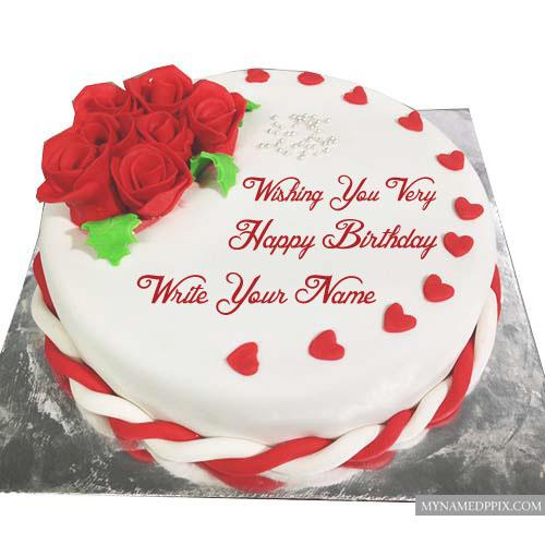 Write Name Birthday Wishes Cake Image Flowers Design