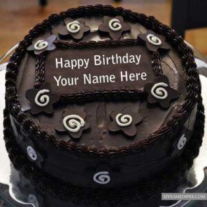 Write Name Wishes Birthday Cake Chocolate Round Shaped Create Photo
