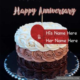 Write Names Anniversary Wishes Beautiful Cake Pictures
