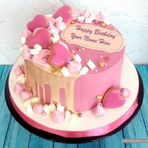 Velvet Cream Hearts Decoration Birthday Cake Name Wishes Images