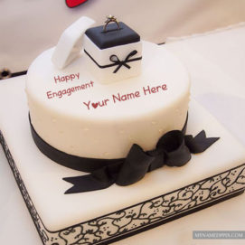 Write Name Engagement Wishes Ring Cake Greeting Card Pictures