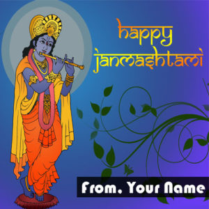 Happy Janmashtami Greeting Card Name Writing Send Status Online