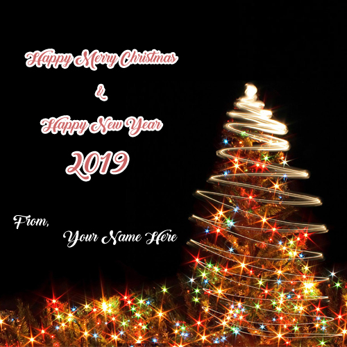 Happy Merry Christmas & Happy New Year Wishes Name Pictures