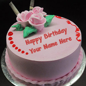 Unique Pink Flowers Birthday Cake Name Write Image Editing