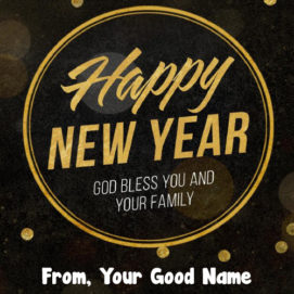 Write Name God Bless New Year Greeting Card Wishes Photo
