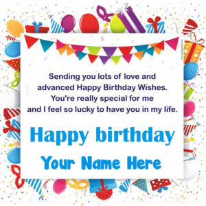 Advance Birthday Wishes Greeting Card Send Name Write