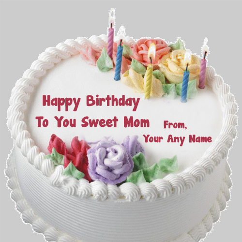 Happy Birthday Mom Wishes Candle Cake Name Write