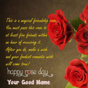 New Happy Rose Day Lovely Greeting Card Name Wishes
