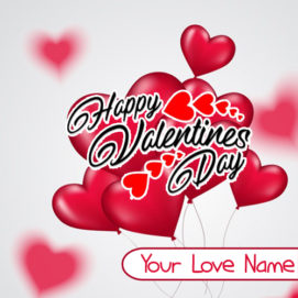 Write Name Beautiful Greeting Card Valentine Day Wishes