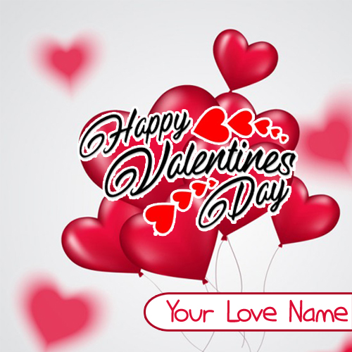 Write Name Beautiful Greeting Card Valentine Day Wishes
