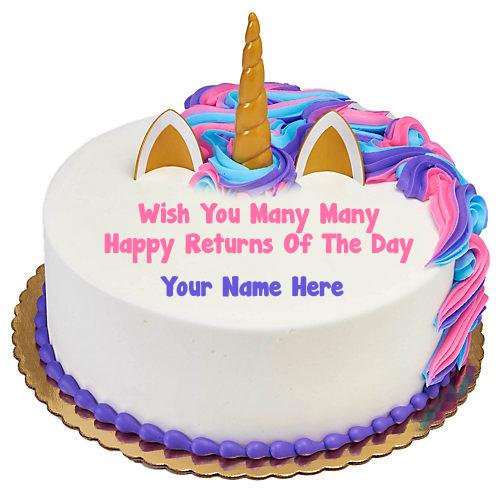 Unicorn Birthday Cake Photo Name Wishes Profile Images