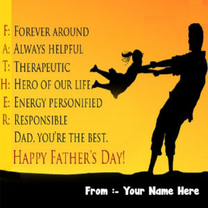 Happy Father's Day Greeting Message With Name Cards Image